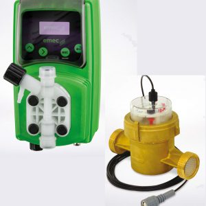 Dosing pump with water meter with pulse generator