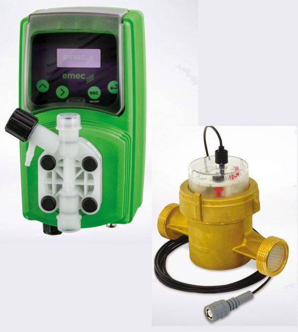 Doseerpomp met watermeter met pulsgever